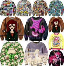 Women And Girl Digital Cartoon Figure Wild Unisex Printed Sweater Shirt @AMS2816