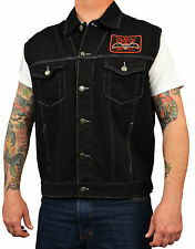Spirit of a Nation by David Lozeau Skeleton Tattoo Mens Black Denim Jean Vest