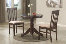 "Wood Bistro Kitchen Dining Table 30"" Round Pedestal Espresso, Cappuccino, Dark"