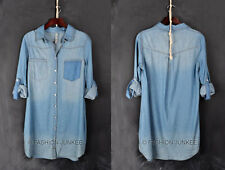 BLUE DENIM Wash (14) Loose SHIRT DRESS BUTTON UP TOP Cuff Basic Chambray S M L