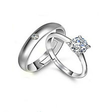 Men Women Zircon Silver Couple Rings Wedding Band His and Her Promise Rings gift