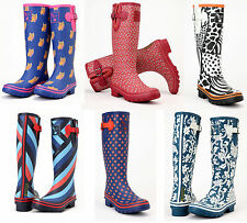 Ladies Evercreatures Multi Patterned Tall Wellies Wellington Boots - UK 3 - 8