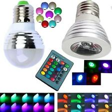 NEW E27 Color Changing 3W RGB LED Light Bulb Lamp 85-265V + IR Remote Control