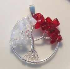 Tree of Life Necklace Pendant Genuine Gemstone Wire Wrap Silver Two Birthstones