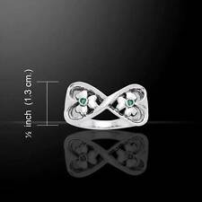 Danu Irish Silver Shamrock Celtic Ring - Size Selectable - w/ emerald color gems