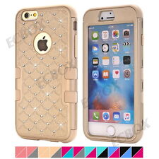Rugged Bling Diamond High Impact Matte Silicone PC Combo Cover Case For iPhone