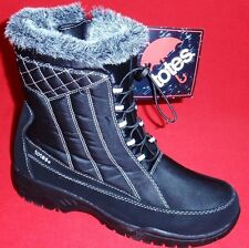 NEW Women's TOTES EVE Black/Gray Faux Fur Winter/Rain Insulated Waterproof Boots