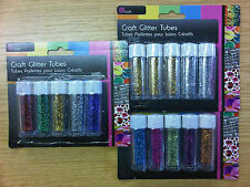 5 x Childrens Kids Craft Coloured Glitter Tubes Silver Gold Red Green Pink Blue
