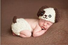 Baby Boy Girl One-eye Dog Puppy Crochet Knit Hat Beanie Diaper Photography Prop