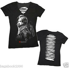 The Walking Dead Daryl Dixon with Back Laser Cut Women's Juniors T-shirt  WD12