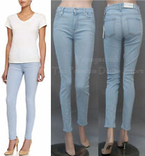$198 NWT 7 SEVEN FOR ALL MANKIND JEANS HIGH WAIST SKINNY BLEACHED AQUAMARINE