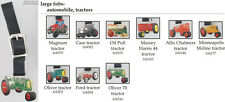 Tractor-themed fobs, various designs & leather strap options
