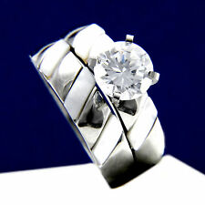 New 2.04 CT Solitaire CZ Engagement Stainless Steel Wedding Bridal Band Ring Set