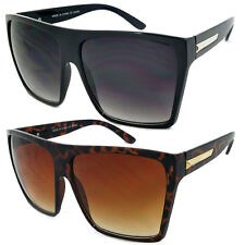 Mens Womens Flat Top Oversize Retro Square Sunglasses Funky Big Lens 2 Colors
