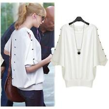 Chic Women Ladies Blouse Batwing Sleeves Button T-Shirt Loose Casual Tops White