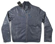 G-Star Raw Correct Biker Leather Jacket Navy Blue