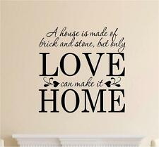 A House Is Made Of Brick & Stone Decor Vinyl Decal Wall Sticker Words Lettering