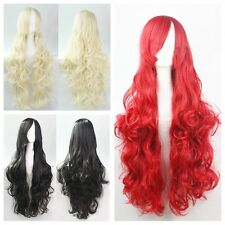 "Womens 32""/80cm Fashion Long Curly Wavy Cosplay Full Wigs Red/Blonde/Black Wigs"