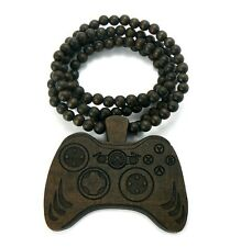 Carved Out Xbox Game Controller Wood Wooden Pendant Beaded Necklace Hip Hop