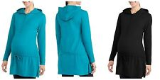 NEW Introspect  Maternity Hooded Henley Tunic Drawstring Teal Buttons Small L