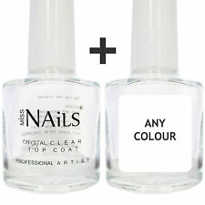 Miss Nails® - Crystal Clear Top Coat + 1 Colour Nail Polish. Quick Dry. 10ml