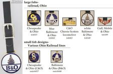 Ohio Railroad fobs, various designs & leather strap options