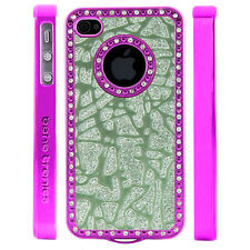 Gem Crystal Rhinestone Green Glitter Shatter Plastic Case For Apple iPhone 4 4S