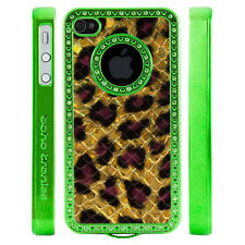 Gem Crystal Rhinestone Gold Purple Leopard Print Scale Case For Apple iPhone 4