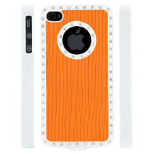 Gem Crystal Rhinestone Orange Raised Line Wallpaper Case For Apple iPhone 4 4S