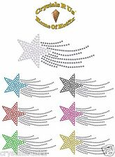sm SHOOTING STAR IRON-ON DIAMANTE BLING CUSTOMIZE PARTY EVENT OCCASION TRANSFER