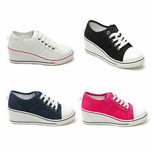 New Womens Ladies Girls Platform Wedge Heel Lace Up Canvas Trainers Shoes Size
