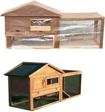 TWO TIER VERONA RABBIT HUTCH WITH RUN WOOD HOUSE PET BUNNY FERRET AND GUINEA PIG