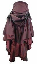 BLACK BURGUNDY RED GOTH RUCHED LONG STEAMPUNK GOTHIC CORSET VICTORIAN SKIRT 8-28
