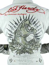 NEW ED HARDY CHRISTIAN AUDIGIER WOMEN'S GRAPHIC JACKET PANTHER TAUPE SIZE M