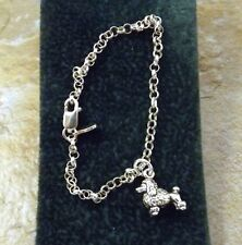 Sterling Silver Mini Poodle Charm on  Sterling Silver 3mm  Rolo Bracelet - 3068