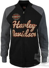 Harley-Davidson Womens Raglan Black & Charcoal Mock Neck Full Zip Jacket
