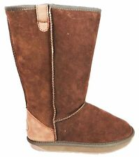 Ewe Ewe Boots Tall Women's Brown Lambs Wool Lined Flat Suede Mid Calf Boots New