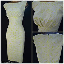 NEW WALLIS SHIFT DRESS FLORAL LACE WHITE YELLOW RETRO VTG STYLE SUMMER 10 - 18