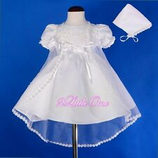 Pearl Embroidery Wedding Baptism Christening Gown Dress Cape Bonnet 0m-12m #009