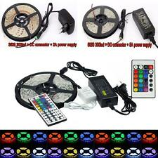 NEW 5M 3528 5050 RGB White SMD 300 Flexible LED Strip Lights 12V Power Supply