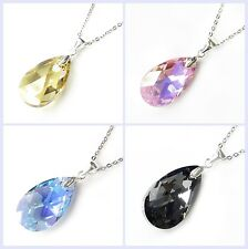 Swarovski Elements Crystal Teardrop Pendant STR Silver Adjustable Chain Necklace