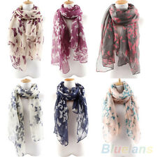Women Stunning Long Neck Butterfly Print Voile Wrap Shawl Pashmina Stole Scarf