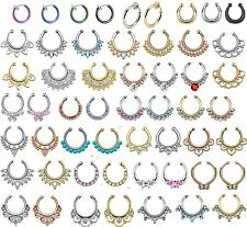 "Fake Septum Ring Non-Pierced Gem Nose Ring Hanger ""Clip On"" Indian UK Seller (#2"