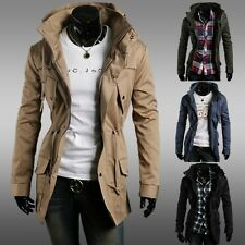 Military Drawstring Long Hoodie Hooded Fashion Mens Jacket Coat Trench Outwear