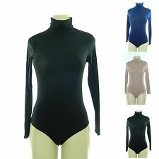 MADE IN USA COMFY SOFT STRETCHY  LONG SLEEVE TURTLENECK BODYSUIT S M L