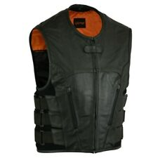 MENS MOTORCYCLE BLACK LEATHER VEST SWAT STYLE w/ LARGE CONCEAL POCKETS - MA11