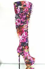 "Pink Floral Canvas Hook Loop Thigh High Boot 6"" Heel With Platform Sizes 6-9"