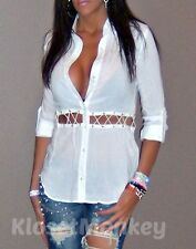 SEXY WHITE IVORY CUT OUT PEEK-A-BOO LATTICE BUTTON UP COLLAR BLOUSE TOP