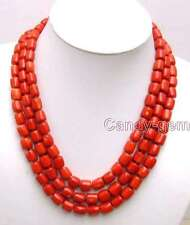"""SALE Big 10-11mm Red Thick Slice natural Coral 3 strands 18-19-20"""" Necklace-5847"""