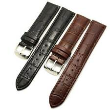 Black/Brown 18/20/22/24/26mm Genuine Leather Wrist Watch Band Strap Pin Buckle